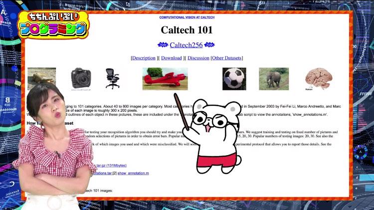 例えば、この写真をコンピューターに見せると「飛行機」、この写真の場合は「サッカーボール」と認識するように、この「Caltech101」というデータセットをコンピューターに学習させると、どれがどんな画像か分かるようになってくれます。